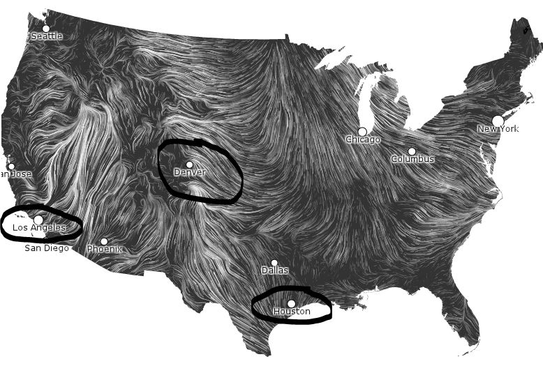 Wind Map Do Cities Change The Wind Patterns Sunshine Hours - Us wind patterns map