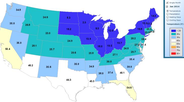 NOAA_JAN_2014_Map_Average_Temperature