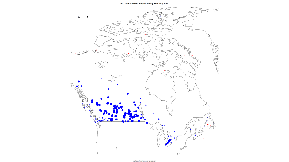 EC Canada Mean Temp Anomaly February 2014