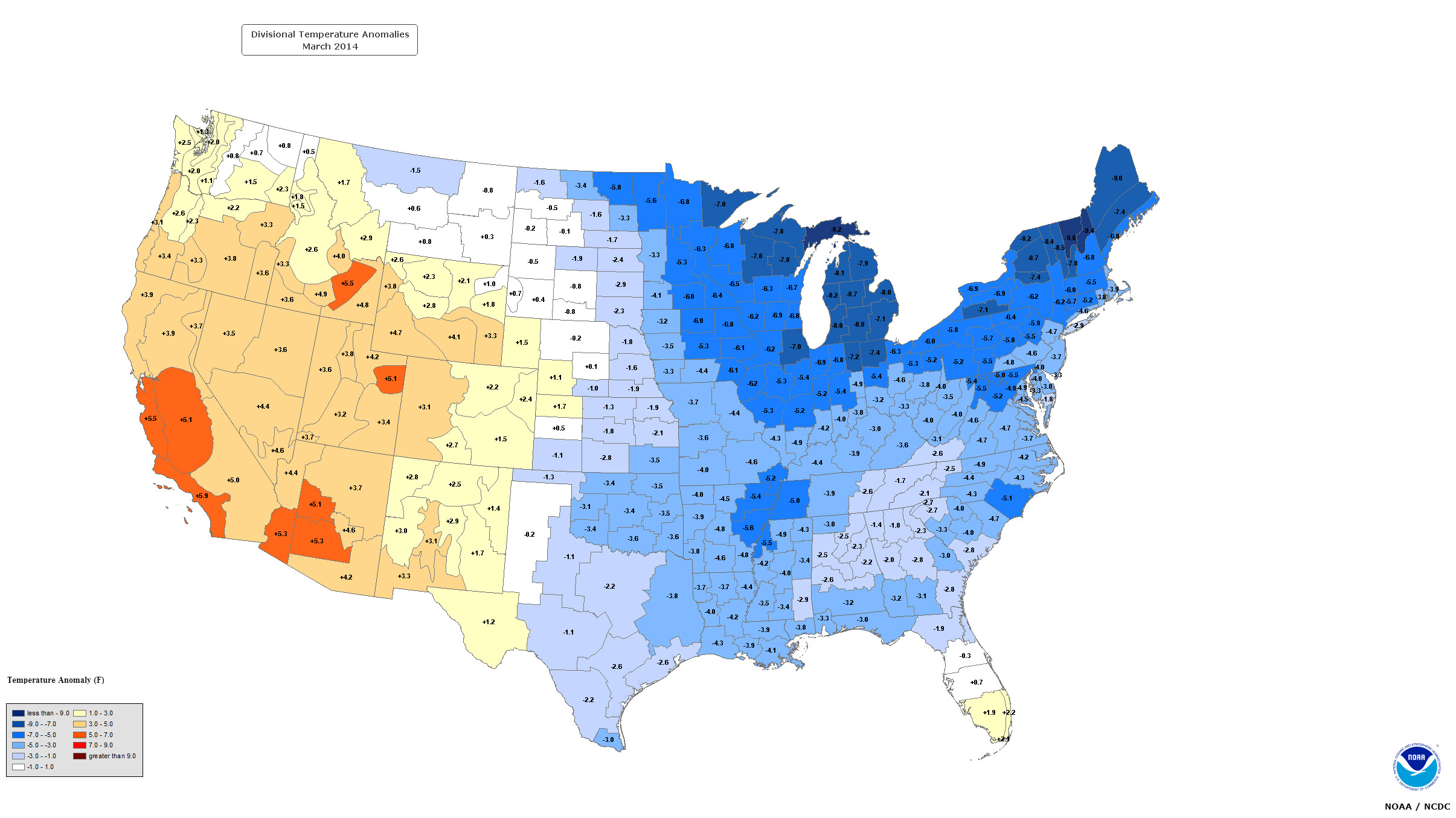 USA March  Versus March  According To The NOAA - Us map annual hours sunshine