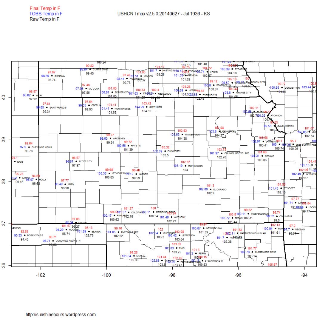 USHCN Tmax v2.5.0.20140627 - Jul 1936 - KS