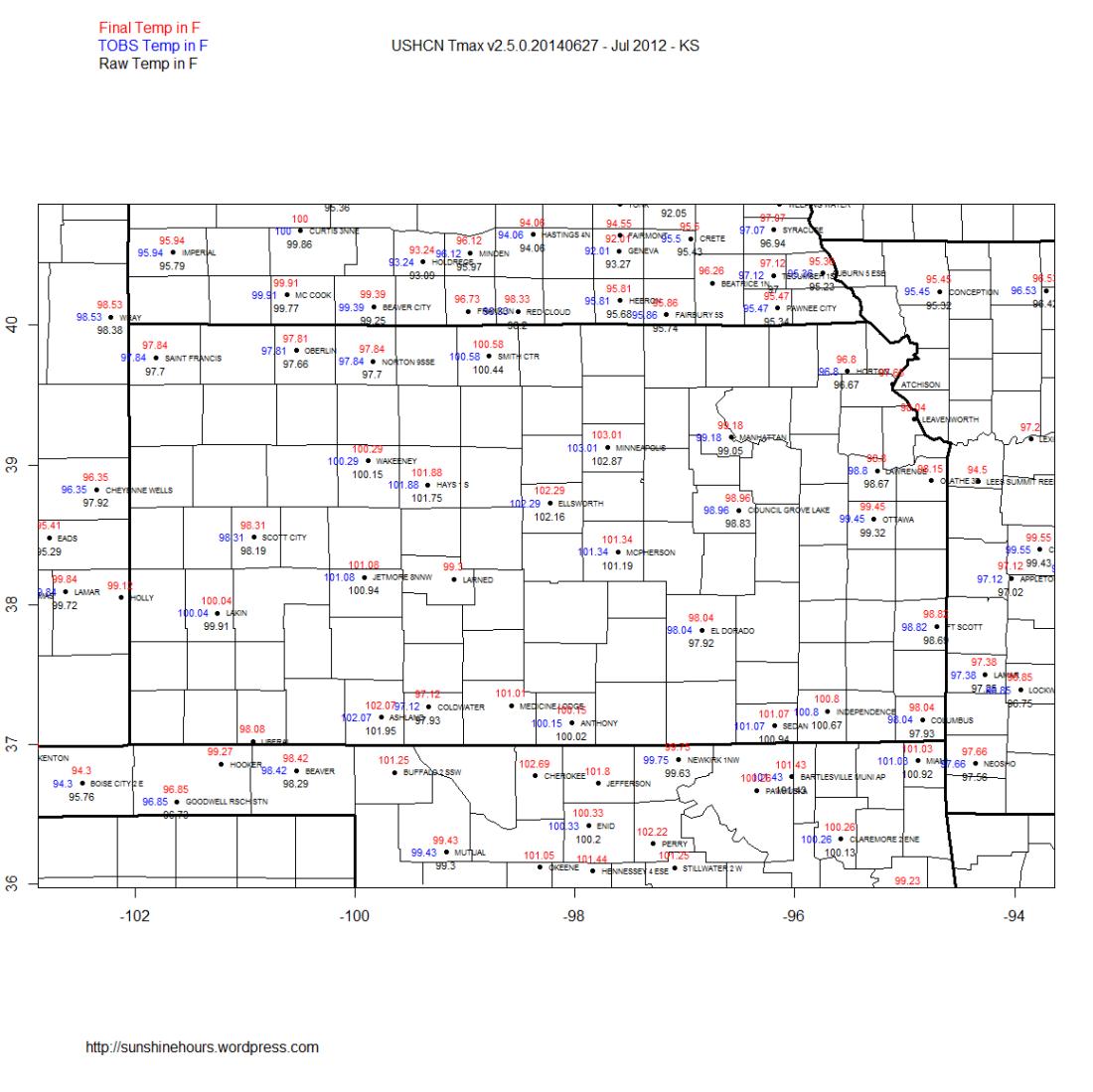 USHCN Tmax v2.5.0.20140627 - Jul 2012 - KS