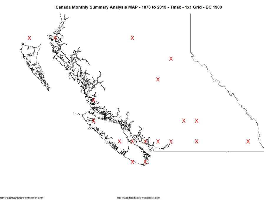 Canada Monthly Summary Analysis MAP - 1873 to 2015 - Tmax - 1x1 Grid - BC 1900