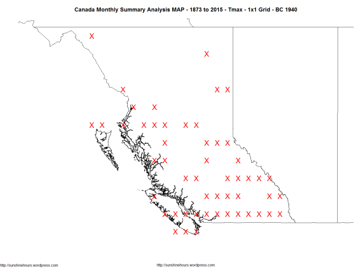 Canada Monthly Summary Analysis MAP - 1873 to 2015 - Tmax - 1x1 Grid - BC 1940