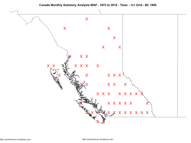 Canada Monthly Summary Analysis MAP - 1873 to 2015 - Tmax - 1x1 Grid - BC 1950