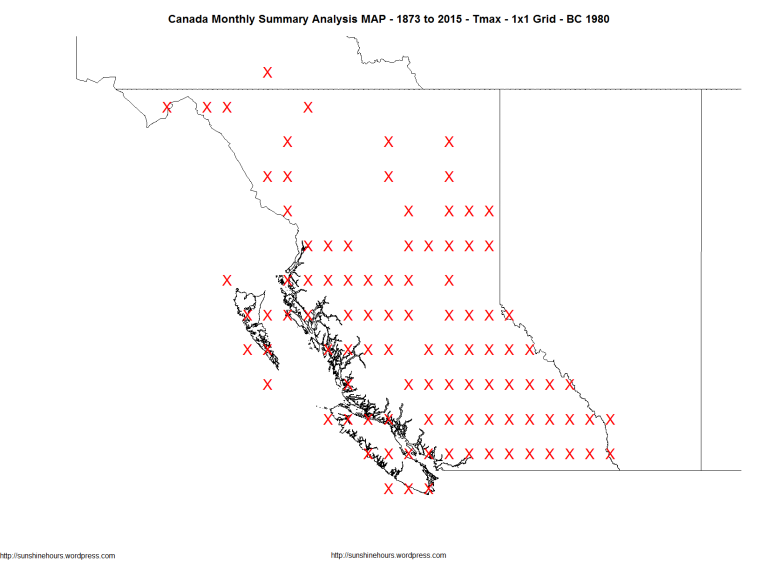 Canada Monthly Summary Analysis MAP - 1873 to 2015 - Tmax - 1x1 Grid - BC 1980