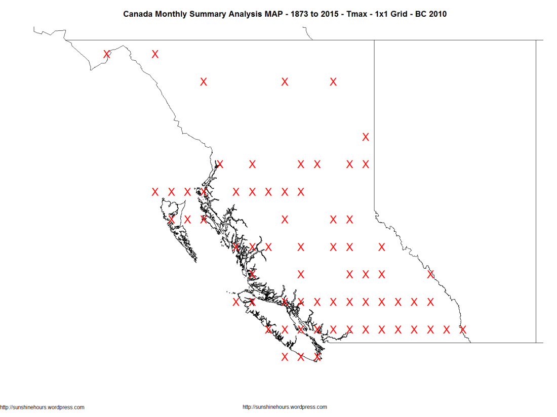 Canada Monthly Summary Analysis MAP - 1873 to 2015 - Tmax - 1x1 Grid - BC 2010