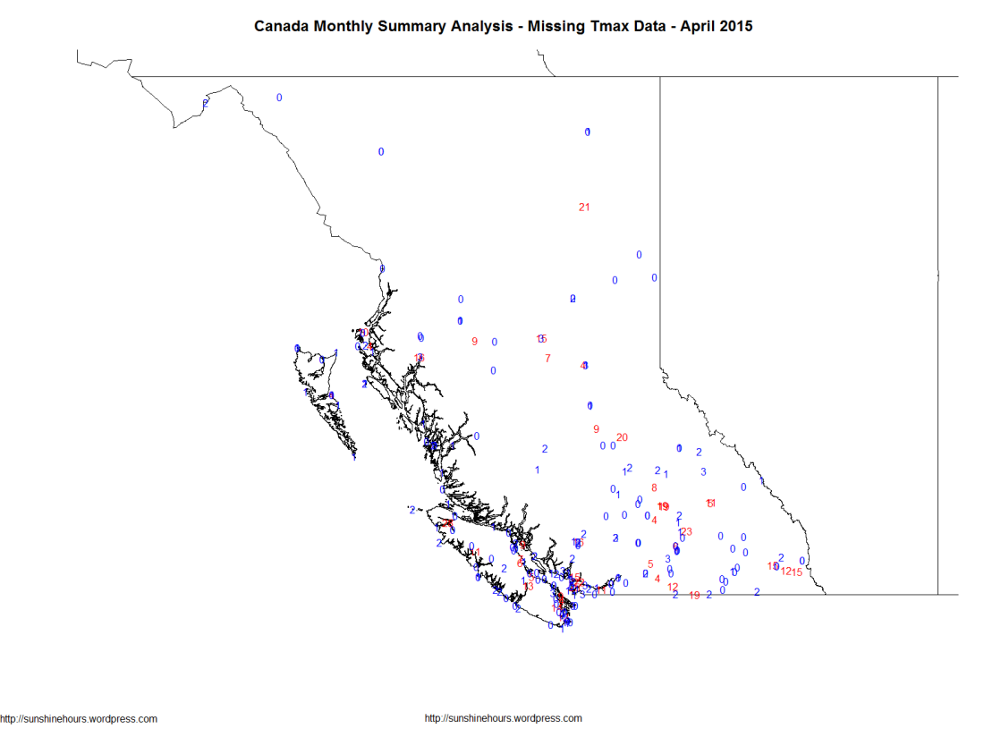 Canada Monthly Summary Analysis - Missing Tmax Data - April 2015